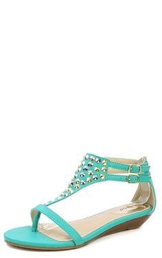 93e4a3fec Bamboo Kara-01 Studded T Strap Kitten Wedge Thong Sandals SEAFOAM Everyday  Shoes