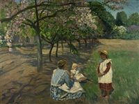 Frau mit zwei Kindern unter blühenden Apfelbäumen sitzend von Philipp Franck