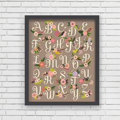 Home Decor Nursery Wall Art  Floral Alphabet by LucyDarlingPrints, $19.99