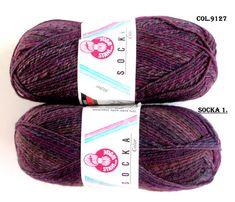 KNITTING WOOL//SOCKA 50//(2 X 50gr.Balls)Sport Wool by-Stahal - Purple/green/Variegated/100 gr. Makes 1-Adult pair/Was(24.00) Now!!