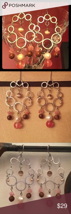 Pretty earrings! 🍒🍾Pink, brown, and silver with a little sparkle! 😘 handmade by cheftiff75 Jewelry Earrings