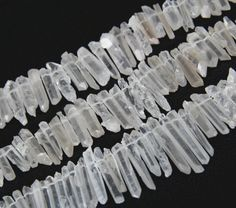 Full Strand Tiny Clear Quartz Crystal Stick Beads Points Bulk,Rough Quartz Loose Beads Pendants,Raw Crystals Top Drilled Necklaces Charm