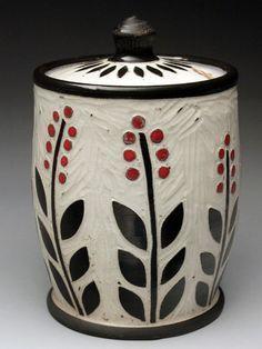 Karen Newgard Sgraffito Porcelain Honey Pot at MudFire Gallery