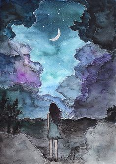 Noctivagant - night wanderer - watercolor painting and illustration with the moon, stars, landscape and (maybe?) sad girl. Starry night.