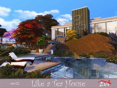In the middle of a rich garden with trees and wild flowers this one bedroom house is an oasis for sims that just start their life together. Found in TSR Category 'Sims 4 Residential Lots' One Bedroom House, Sims Community, Electronic Art, City Living, Sims 4, Wild Flowers, Mansions, House Styles, Content