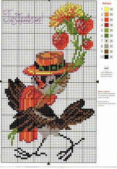 Happy dressed up Crow to bring in autumn. Cat Cross Stitches, Cross Stitch Bird, Beaded Cross Stitch, Cross Stitch Alphabet, Crochet Cross, Cross Stitch Animals, Cross Stitch Flowers, Cross Stitch Designs, Cross Stitching
