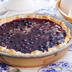 Uncovered Blueberry Pie