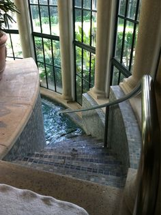 steps down to an indoor pool