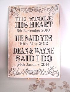 gay wedding gift civil ceremony vintage chic a4 sign he stole his heart plaque