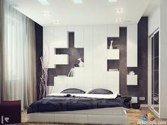 siyah beyaz yatak odası dekorasyonu