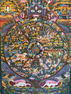 Bhavacakra, also known as the Wheel of Becoming, is a symbolic representation of the continuous cycle of birth, life, and death. The only way to become liberated from this cycle is to reach enlightenment. The six pieces within the wheel represent the six forms of unenlightened existence. #art #enlightenment