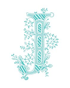 Hand drawn monogrammed print, 8x10, the Letter J, in the color  blue. $15.00, via Etsy.