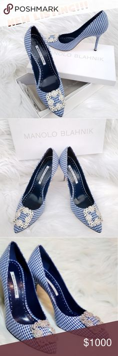 a400a35bd24 Gucci Shoes Heels. See more. MANOLO BLAHNIK HANGISI GINGHAM JEWEL BUCKLE  PUMPS THESE ARE MANOLO BLAHNIK HANGISI GINGHAM JEWEL BUCKLE PUMPS