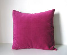 Decorative pillow: velvet pillow in berry pink and natural linen, eco friendly home decor pillow.