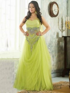 Green Net Wedding Gown (Free Size)