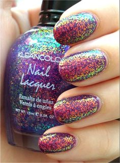 KleanColor Chunky Holo Purple 234 layered over OPI Can You Dig It? Fancy Nails, Love Nails, How To Do Nails, Fabulous Nails, Gorgeous Nails, Pretty Nails, Glitter Nail Polish, Nail Polish Colors, Holographic Glitter