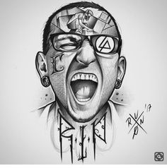 Very Interesting Drawing Of Chester Bennington! Chester Bennington Tattoo, Charles Bennington, Tattoo Linkin Park, Dark Tattoo, I Tattoo, Liking Park, Blackwork, Heavy Metal Art, Nu Metal