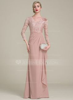 A-Line/Princess V-neck Floor-Length Chiffon Lace Mother of the Bride Dress With Flower(s) Cascading Ruffles - Wedding and Gowns Chiffon Evening Dresses, Evening Gowns, Prom Dresses, Wedding Dresses, Chiffon Dress, Lace Chiffon, Dress Prom, Chiffon Flowers, Staubige Rose