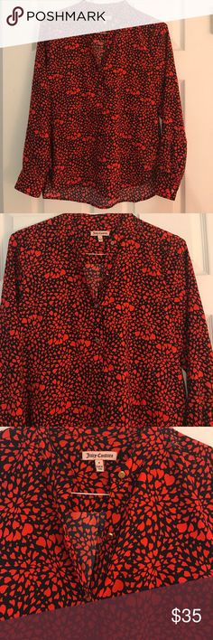 Juicy couture heart pattern blouse Heart patterned blouse with gold buttons. Excellent condition. Hardly worn. Juicy Couture Tops Blouses