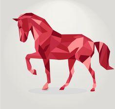 3d geometric shapes horse creative vector 02