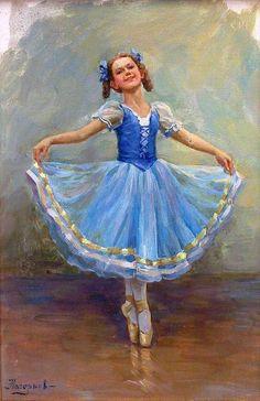 Nagornov Vladislav - Ballerine en bleu - 33x22 - H - by Hôtel des Ventes d'Enghien