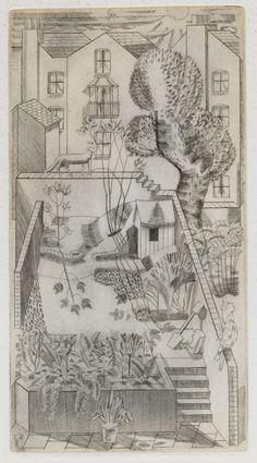 London backyard - cat on the fence | engraving, 1927 | Edward Bawden