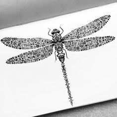 """""""Robotic dragonfly ✒️ hope everyone is having a great Sunday! #inktober #day18 #dragonfly #robotic #technology #motherboard #insect #bug #buglife"""""""
