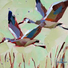 Sandhill Cranes original bird wildlife oil by prattcreekart