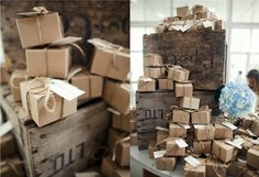 pretty display of favor boxes on wooden crates -Lane Dittoe Photography