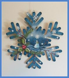 This snowflake is lazier cut from composite wood. It is 10 inches across and inch thick. Hand painted with acrylic paint. The large white snowflakes are raised for a 3 D affect. Painted Christmas Ornaments, Hand Painted Ornaments, Wood Ornaments, Santa Ornaments, Snowflake Cutouts, Wooden Snowflakes, White Snowflake, Christmas Projects, Christmas Art