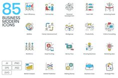 Awesome, very nice Graphics 85 Modern Business Icons—Do you want to start a business? Or maybe you're already hired and are looking to elevate your busin.