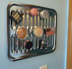 One Woman Garden Club: Magnetic Makeup Holder - DIY