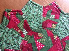 Your place to buy and sell all things handmade Christmas Themes, Holiday Ideas, Christmas Gifts, Holiday Decor, Round Table Covers, Mint Green, Yellow, Miniature Quilts, Holly Leaf