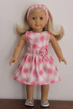 American Girl Doll Spring Summer dress and headband