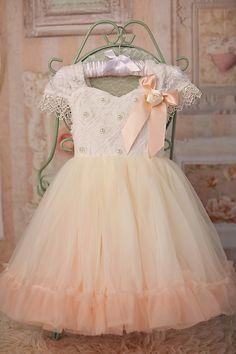 """Lilou"" petti dress in ivory and peach"