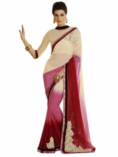 Melluha Cream Faux Georgette Designer Saree