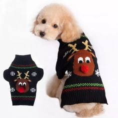 Cheap dog sweater, Buy Quality pet sweater directly from China dog clothes sweater Suppliers: Dogs Sweaters Pet Clothes Small Dog Coat Jacket For Dachshunds Chihuahua Reindeer Costume Dog Clothes Hot Sale Christmas Gift Large Dog Clothes, Small Dog Coats, Pet Clothes, Dog Clothing, Small Dogs, Large Dogs, Christmas Animals, Christmas Cats, Christmas Sweaters