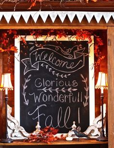 Welcome, glorious, wonderful Fall! It's fall decorating time at Sugar Pie Farmhouse! Chalkboard Lettering, Chalkboard Designs, Chalkboard Ideas, Fall Chalkboard Art, Welcome Chalkboard, Chalkboard Sayings, Chalkboard Walls, Chalk It Up, Chalk Art