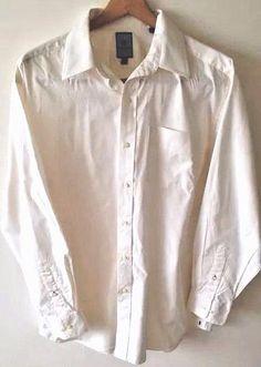 Tommy Hilfiger Dress Shirt 16.5 / 34-35 Solid Off White Long Sleeve 100% Cotton #TommyHilfiger #DressShirt #Mens