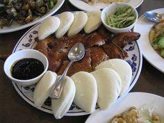 Peking Duck (whole) w/ Fresh Steamed Buns at Ho Ho Restaurant in Seattle's International District Seafood Restaurants Seattle, Garlic Prawns, Peking Duck, Fish And Meat, Duck Recipes, Steamed Buns, Chinese Restaurant, Asian Cooking, Yum Yum