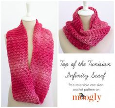Reversible one-skein Tunisian #crochet scarf free pattern from moogly