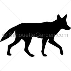 Coyote silhouette clip art. Download free versions of the image in EPS, JPG, PDF, PNG, and SVG formats at http://silhouettegarden.com/download/coyote-silhouette/