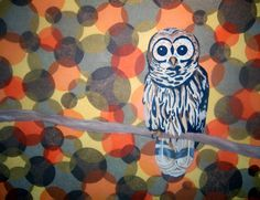 I like the tissue paper circles, but not the owl.  I saw packages of tissue squares at Michaels today; it would make it a lot easier to do something like this.