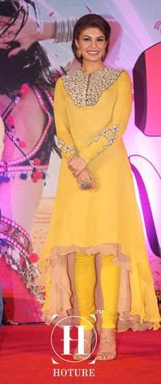 Jacqueline sensuous Fernandez was spotted setting the stage on fire at the song launch of 'Jadoo ki Jhappi' in a gorgeous yellow layered dress. The actress completed her performance with ease in spite of wearing heavy earrings and nude strap heels. http://www.hoture.com/ https://www.facebook.com/hoture