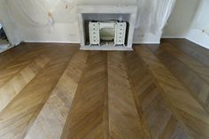 Parquet floor Chevron with finishing aged patined oiled waxed Parquet Flooring, Hardwood Floors, Chevron Floor, Tile Floor, Divider, Traditional, Architecture, Room, House