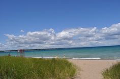 The beach at Canatara Park in Sarnia, Ontario and the lovely blue waters of Lake Huron.