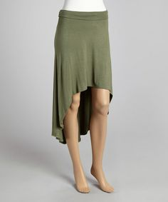 Loving this Light Olive Hi-Low Skirt on #zulily! #zulilyfinds