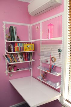 elfa shelving looks great with a contrasting wall colour. It also makes a great study nook for your child, Form Function NT Elfa Shelving, Shelves, Ikea Childrens Desk, Kids Study Spaces, Ikea Algot, Shelving Solutions, E Room, Study Nook, Wall Desk