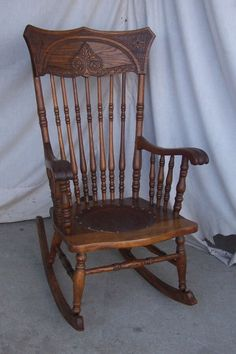 This Is An Excellent Example Of A Quality Antique Wooden Rocker With A  Detailed Pressed Design