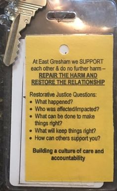 """A Few Things Worth Reading: Restorative Justice Practices - """"do no further harm"""" - """"repair harm and restore the relationship. High School Counseling, School Social Work, School Counselor, Restorative Practices School, Restorative Circles, Classroom Behavior Management, Behavior Plans, Behavior Charts, School Leadership"""